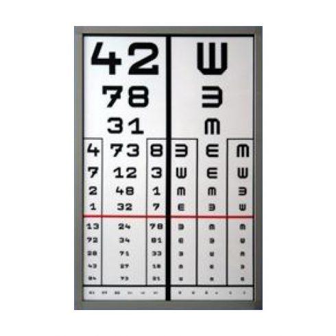 VISUS-D - látásélesség vizsgáló tábla (2 oszlopos, 1 db előlappal)