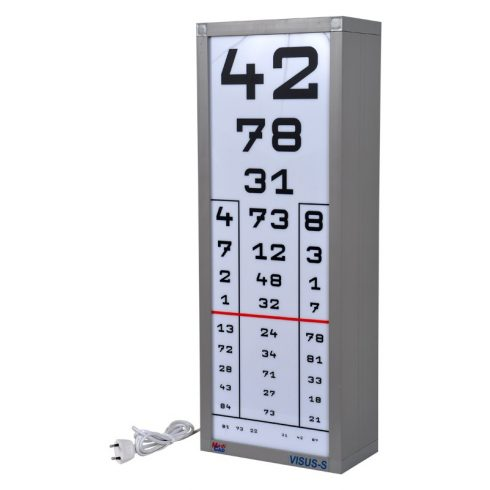 VISUS-S - látásélesség vizsgáló tábla (1 oszlopos, 1 előlappal)